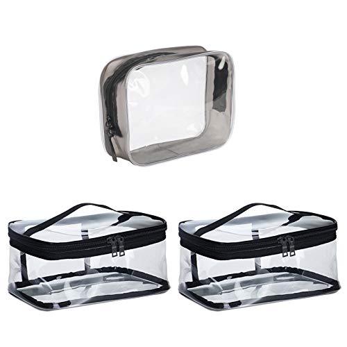 LANMOK 3 Piezas Bolsas de Aseo Transparente Neceser PVC Muje