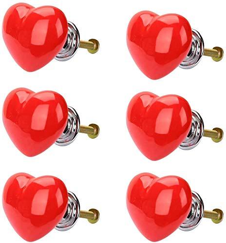 POFET 6 pomelli a forma di cuore per cassetti e armadietti, maniglie vintage per mobili in ceramica, per cucina, guardaroba, credenza, camera dei bambini, decorazione - rosso