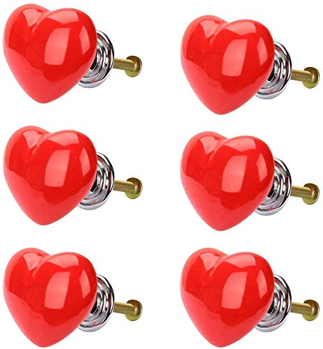 POFET 6 pomos de armario con forma de corazón para cajones, tiradores de cerámica para muebles de cocina, armario, habitación de niños, decoración de color rojo