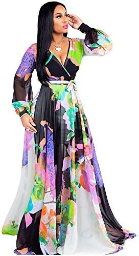 Nuofengkudu Womens Chiffon V Neck Printed Floral Maxi Dress Long Sleeves Dresses High Waisted product image
