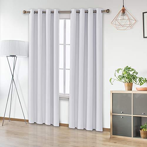 UMI Amazon Brand Cortinas Salon Aislantes Termicas Opacas con Ollaos 2 Piezas 140x245cm Gris Blanco