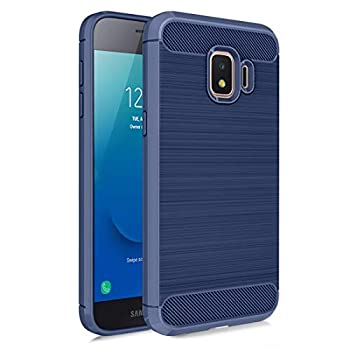 MMDcase Samsung Galaxy J2 Core Case J2 2019/ J2 Dash/ J2 Pure/ J2 Shine/SM-J260 Phone Case with Screen Protector,Carbon Fiber Soft TPU Brushed Texture Full-Body Protective Cover for Men/Women,Navy