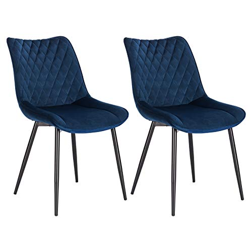 WOLTU® Esszimmerstühle BH209bl-2 2er Set Küchenstuhl Polsterstuhl Wohnzimmerstuhl Sessel mit Rückenlehne, Sitzfläche aus Samt, Metallbeine, Blau