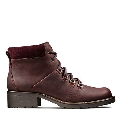 Clarks Damen Orinoco Demi Biker Boots, Braun (Burgundy Leather Burgundy Leather), 42 EU