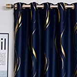 1 Pair Blackout Curtains for Bedroom, Luxury Striped Curtains for Living Room (Navy and Gold, 2 x 54 x 96 Inch)
