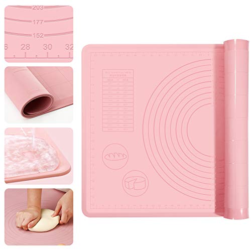 Silicone Pastry Mat Thickening (1mm), Baking Large (23.6'' x 15.7''), Pie Crust Mat Non-Stick, Dough Rolling Measurements Non-Slip, BPA Free (Pink)
