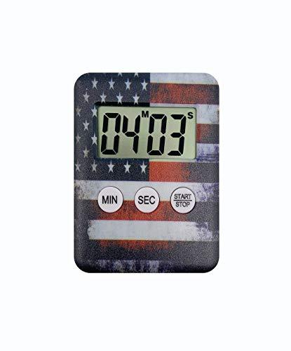 Digitaler Timer mit US-Flagge & lautem Alarm zum Kochen, Backen, Workouts für Kinder, für Arbeitsplatte, Desktop, Klassenzimmer, Badezimmer, Batterie im Lieferumfang enthalten