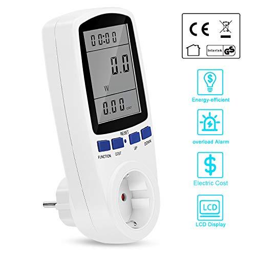 Redmoo Strommessgerät, Energiekostenmessgerät Stromverbrauchszähler mit LCD-Digitalanzeige, 7 Energiesparenden Anzeigemodi Stromzähler Steckdose