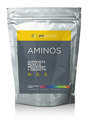 Purbolics Aminos | Supports Muscle Recovery & Growth | 4g of Free-Form Amino Acids, Beta-Alanine, 0 Calories & 60 Servings (Sour Rainbow Candy)