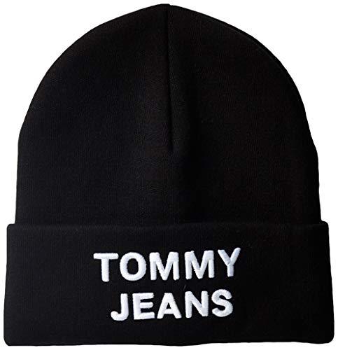 Tommy Jeans Herren TJM LOGO BEANIE Strickmütze, Schwarz (Black Bds), One Size (Herstellergröße:OS)