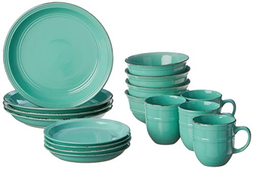 American Atelier Madelyn Casual Round Dinnerware Set – 16-Piece Stoneware...