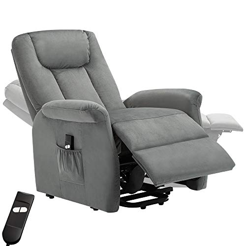 Bonzy Home Recliner New Electric Powered Lift Recliner Chair with Remote Control - Home Theater Seating - Bedroom & Living Room Chair Recliner Sofa for Elderly (Gray)