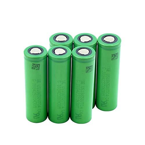 MNJKH BateríAs De Litio De 3.6v 18650 VTC4 2100mah, Alto Drenaje Plano Verde del Li-Ion Batetry 6pcs
