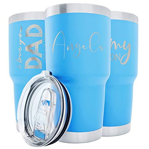 Personalized Tumblers w/Splash Proof Lid - 30 oz, Sky Blue - 18 Designs - Vacuum Insulated Travel Coffee Mugs - Stainless Steel Double Wall Thermos - Personalized Cups, Hot and Cold Drink Use