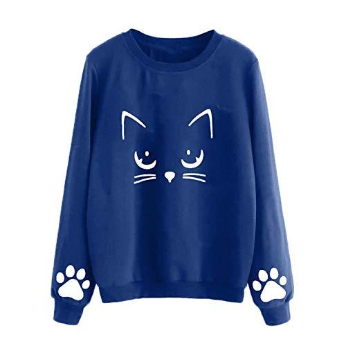 XLKJ Winter Pullover Sweatshirts Women 2021 Women Autumn And Winter Cat Print Weater Round Neck Long-Sleeve Regular Blouse Blue