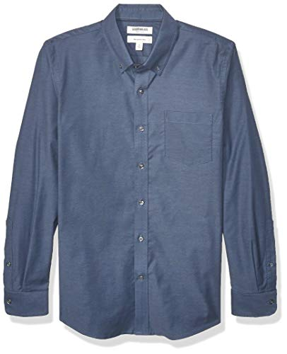 Goodthreads Marca Amazon Camisa Oxford elástica de Manga Larga para Hombre con fácil Cuidado, Color Azul Mezclilla XL