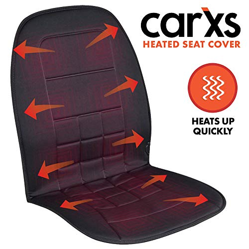 carXS Heated Car Seat Cushion - Universal 12V Padded Car Seat Heater with Dual Heat Settings &...