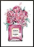 4Good Epictures Din Coco Chanel n°A3 Lot de 5 flacons de Parfum avec Fleurs peintes à la Main pour la Maison, Le Salon, la Chambre (n° 5, Rose, A4)