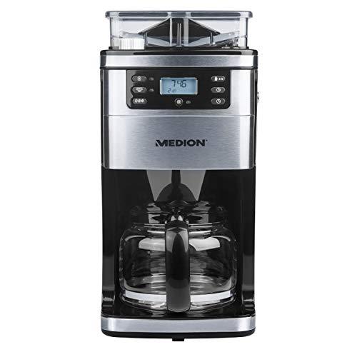 MEDION Kaffeemaschine mit Mahlwerk und Glaskanne, 1,5 Liter, 8 Mahlstufen, max. 1050 Watt, MD15486, edelstahl
