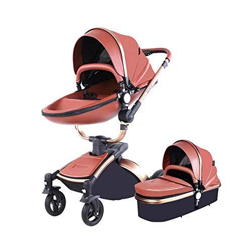 JBZP Hot Mom Passeggino 3in1-reversibile a Due Vie ad Alto Paesaggio Carrozzina 360 Rotante, Seduto, sdraiato, Pieghevole, Incluso seggiolino per Bambini, carrozzine Trio Combinato Marrone