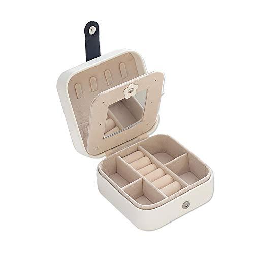 Caja de almacenamiento cuadrada de cuero de doble capa para joyas, collar y pendientes, caja de joyería de escritorio