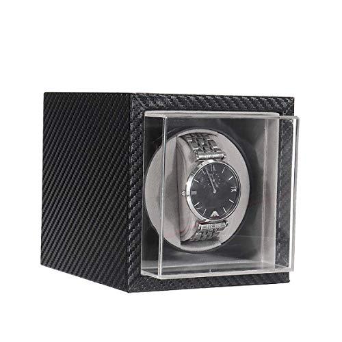 TRDT Caja Giratoria para Relojes Watch Winder Automáticos Bobinadora de Plastico Caja Automatica Relojes Mecánicos Silencioso para 1 Reloj con Pilas y Adaptador de CA