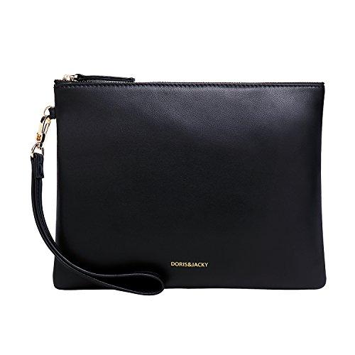 Soft Lambskin Leather Wristlet Clutch Bag For Women Designer Wallets With Strap(Black)