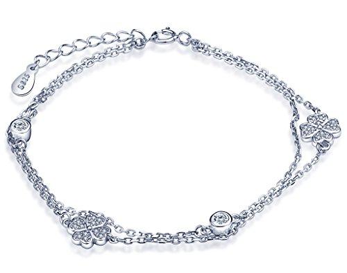 Trébol de cuatro hojas de la buena suerte Infinite U.Pulsera de plata esterlina 925, con eslabones, para mujeres; hebra de circonita cúbica, cadena ajustable, plata.