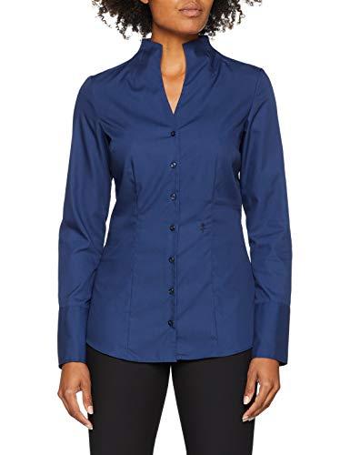 Seidensticker Damen Bluse – Bügelfreie, schmal taillierte Hemdbluse mit Kelchkragen und Kragen-Ausschnitt – Langarm – 100% Baumwolle, Blau (Dunkelblau 18), 44