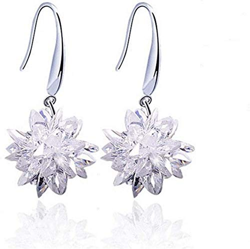 Pendientes de plata de ley 925 de buena suerte, piedras preciosas, hermosas flores, joyería de princesa encantadora