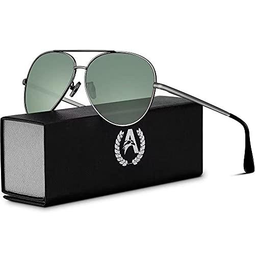 VVA Occhiali da sole Uomo Polarizzati Pilota Uomo Occhiali da sole Polarizzati Unisex UV400 Protection By V101(Verde/Pistola)