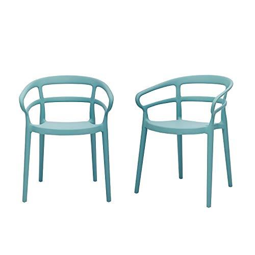 Amazon Basics Light Blue, Curved Back Dining Chair-Set of 2, Premium Plastic