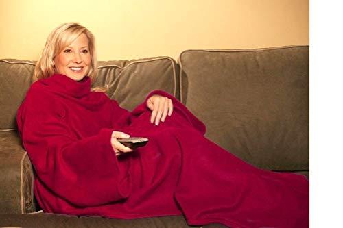 Premium knuffeldeken met praktische mouwen Royal Red (140 x 180 cm) optimale warmte-isolatie - mouwdeken mouwen deken HUKITECH rode fleece warmtedeken plaid