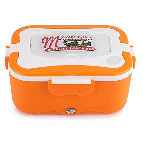 Laqemhu Fiambrera eléctrica portátil de 1,5 l, 12 V / 24 V, Caja de Almuerzo con calefacción eléctrica para Coche, contenedor Calentador de Alimentos para Viajar (orange01)