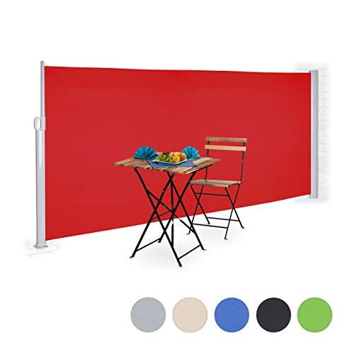 Relaxdays Toldo Lateral Enrollable, Protección Solar, Panel de privacidad, 160 x 300 cm, Rojo