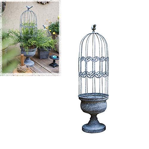 CJSWT Jaula de Gazebo de pájaros de Metal rústico de Estilo Vintage, Encantadoras jardineras de jardín de Jaula de pájaros de Hierro Forjado rústico, Obelisco de Enrejado de Estilo Jaula de pá