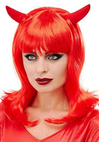 ML Peluca Larga para Fiestas de Carnaval Halloween de diablita con Cuernos Color Rojo para Mujer
