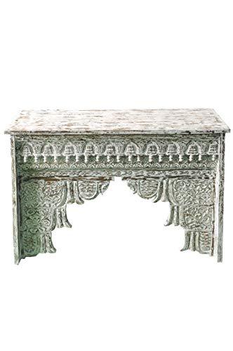 Oosterse console sideboard smal Inana 120cm wit | Orient vintage consoletafel oosters handgesneden | Landhuis dressoir gemaakt van massief hout | Aziatische decoratieve meubels uit India