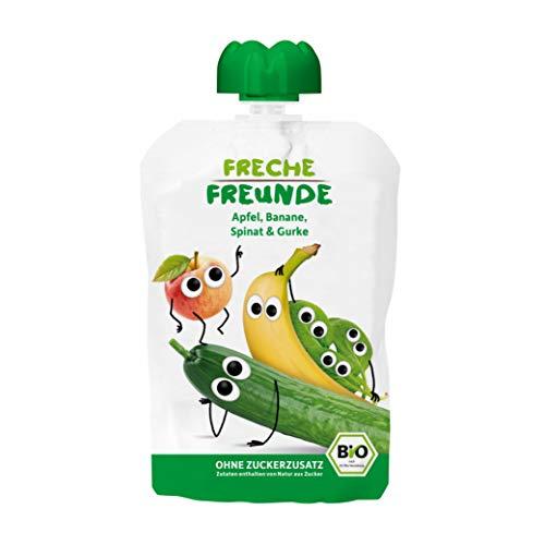 FRECHE FREUNDE Bio Quetschie Apfel, Banane, Spinat & Gurke, Fruchtmus im Quetschbeutel für Babys ab 1. Jahr, glutenfrei & vegan, 6-er Pack (6 x 100g)