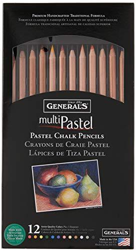 General Pencil 4400-12A General's Pastel Chalk Pencils, 12 Colors,...