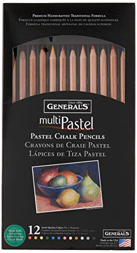 General Pencil 4400-12A General's Pastel Chalk Pencils, 12 Colors, Multicolor