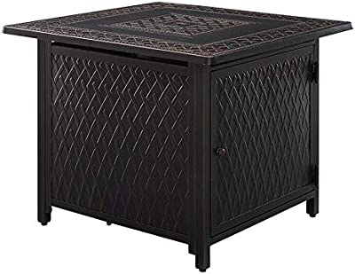 """Fire Sense Downey 32"""" Square Aluminum LPG/NG Fire Pit Table 