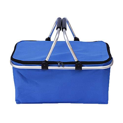 Wandofo Faltbarer Picknickkorb Camping Einkaufskorb Isoliertasche Kühlkorb mit Reißverschluss Wasserdichte Taschen blau