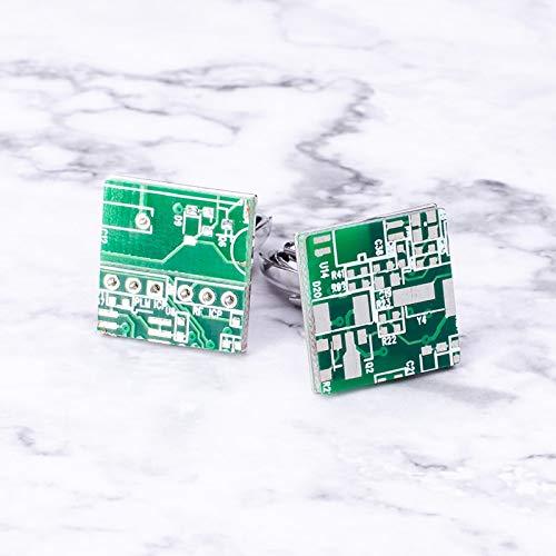 jiao Neuheit Grün Computer Leiterplatte Manschettenknöpfe Computer Geek Manschette Knopf Für Unisex Shirt Business Kreative Party Geburtstagsgeschenk JM-428