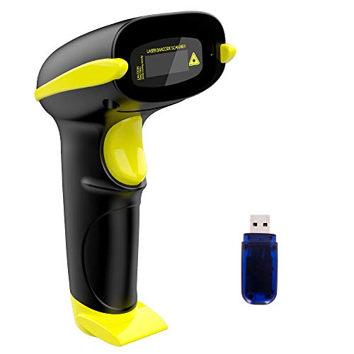 NADAMOO Wireless Barcode Scanner Bluetooth Compatible, Handheld USB 1D Cordless Laser Bar Code Reader for Inventory, Work with Windows/Mac OS/Linux Computer, Made for iPhone, iPad, and Android barcode scanner usb