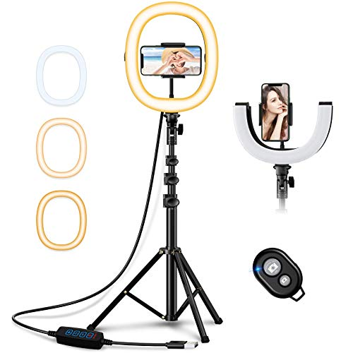 Bcway 10.2' Selfie Ring Light with Tripod Stand and Phone Holder, Portable Foldable Led Ringlight, 3 Color Modes, Bluetooth Control, 50' Height, Carrying Bag, for Photography/Makeup/Vlog/Live Stream