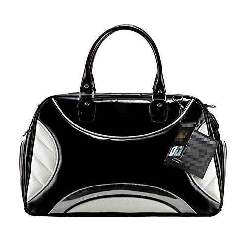 ZoSiP Golf Duffle Bag Sports Fitness Bag Golf Duffle Bag PU Golf Clothing Bag Travel Duffel Boston Sports Gym Bag with Shoes Compartment (Color : Black, Size : 46x25x30cm)