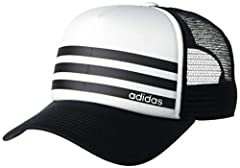 Traditional foam five-panel trucker cap Center-front linear adidas logo with graphic Soft mesh for breathability Adjustable snapback closure for fit