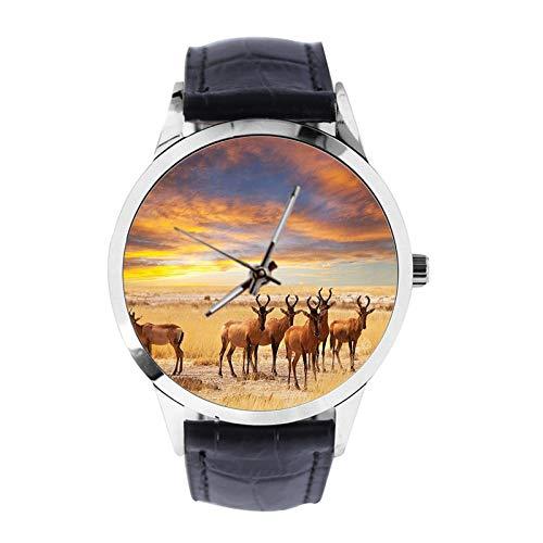 ACrowd op grasland bij zonsondergang tropische exotische Savannahs aangepaste polshorloge unisex analoge kwarts horloge met lederen band horloges voor meisjes jongens horloge