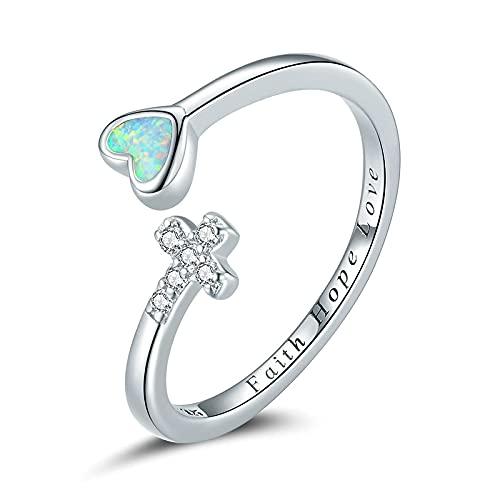 Anillos de corazón de ópalo cruzado Faith Hope Love anillos de dedo ajustables abiertos para mujeres anillo abierto de plata de ley 925 joyería simple